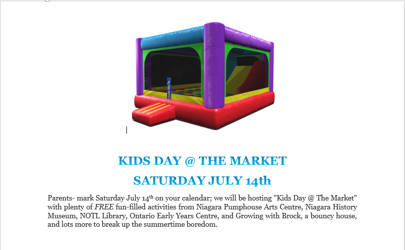 Kids Day The Market Saturday July 14th The Market At The Village
